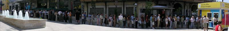Athenians lined up shortly before noon on Saturday, August 7th, 2004, with hopes of purchasing Olympic tickets.
