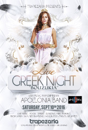 Greek Night at Trapezaria in Rockville, MD, featuring Live Bouzoukia by Apollonia, Saturday, September 10, 2016 starting at 10:00 PM. Click here for details!