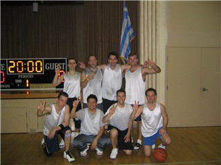Members of The Islanders celebrate their second consecutive Greek League Regular Season and Tournament Championship.