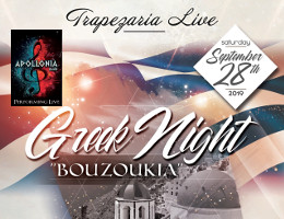 Greek Night at Trapezaria in Rockville, MD, featuring Live Bouzoukia by Apollonia, Saturday, September 28, 2019 starting at 10:00 PM. Click here for details!