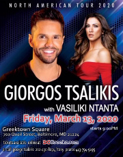 Apollonia Productions and George Tsakiris present multi-platinum recording artist Giorgos Tsalikis live at Greektown Square with Vasiliki Ntanta on Friday, 3/13/2020 in Baltimore, MD.  VIP and reserved table seating tickets on sale exclusively at DCGreeks.com!