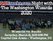 DCGreeks.com invites you to the Capital One Arena on Saturday, March 21, 2020 at 8:00 PM as the Washington Wizards take on reigning NBA MVP Giannis Antetokounmpo and the Milwaukee Bucks at our 5th Annual DCGreeks.com Night with the Washington Wizards featuring a halftime Greek dance performance! The first 50 tickets purchased come with the opportunity to participate in a Bucks fan tunnel to high-five players as they run onto the court.  Click here for details!
