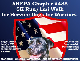 The Peter N. Derzis Chapter #438 of AHEPA will be hosting its inaugural 5K run/1 mile walk in a virtual format from 3/20/21 to 3/28/21 to raise funds for AHEPA's Service Dogs for Warriors initiative. Click here for details!