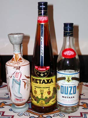 Metaxa, Ouzo, with Amphora.